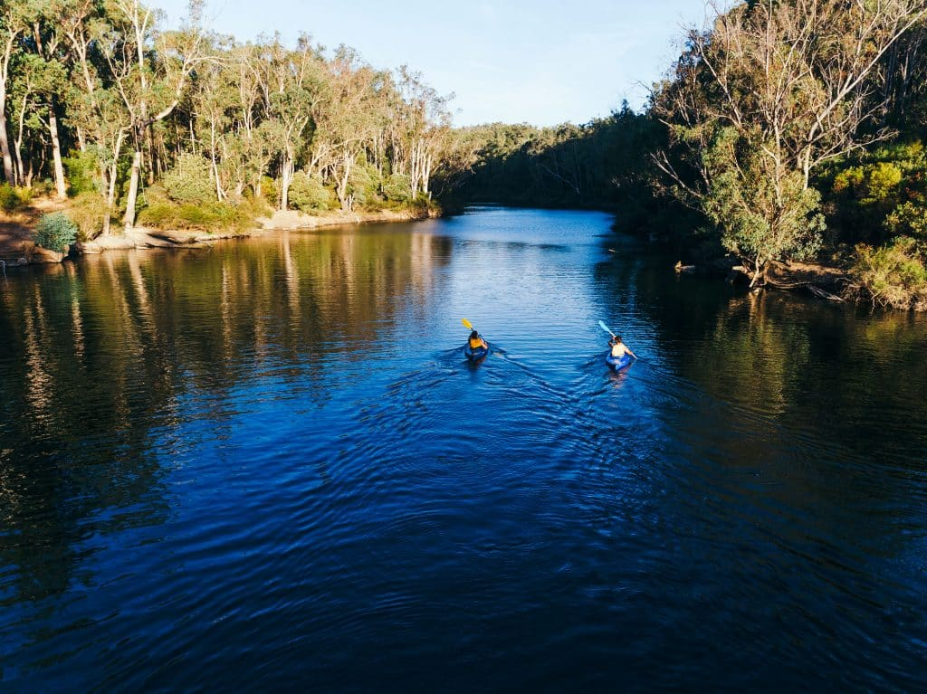 Kayaking on the Murray River in Dwellingup