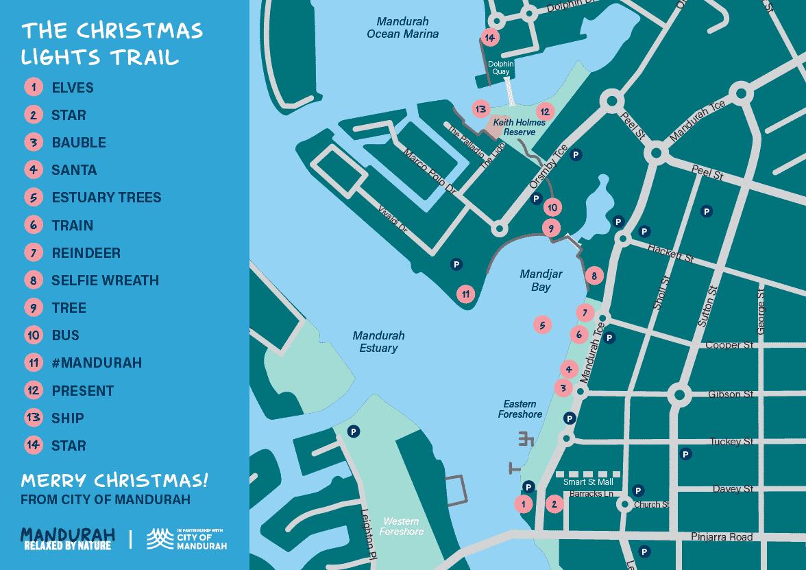 Mandurah Christmas Lights Trail map