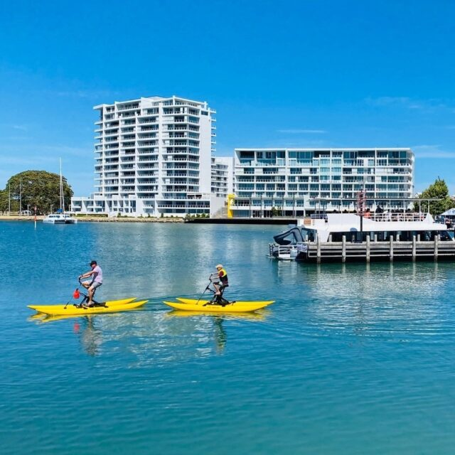Chill out, cool down, get out on the water! With #waterwaysfordays the best place to do this is in #Mandurah.  Have you tried the new @mandurahwaterbikes yet? Pedal your way over the water, and look out for our favourite bottlenose dolphins while you're at it.  They look super fun and great on the water - come down and try them any day of the week as a one hour or 1/2 hour hire.   #waterbike #dolphins #mandurahmoments #visitmandurah #mandurah #seeperth #wanderoutyonder #thisiswa #westernaustralia